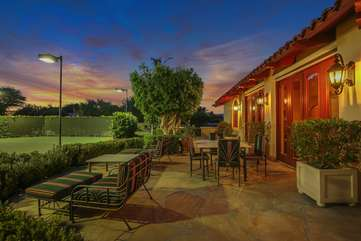 Tennis pros from around the world competing at the Indian Wells tournaments have stayed here and dined on this balcony outside the casita overlooking the tennis courts. *The neighbors tennis courts are connected through a gate and are also available to guests