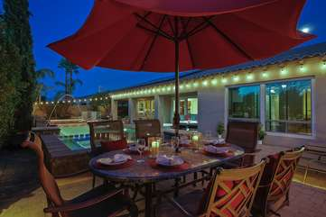 Outdoor dining with Umbrella