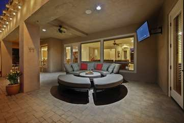 Outdoor TV to watch the game by the pool