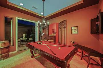 Billiard room with separate french doors to the outside seating area, bar, darts and jenga
