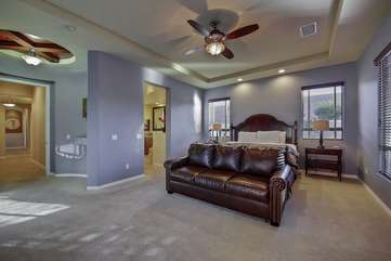 Master bedroom has a king sized bed plus a full sized fold out couch to sleep a total of 4