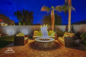 Huge Gas firepit means NO propane tanks running out during your stay