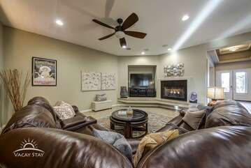 Open floor plan. Cozy couches
