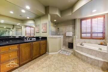 Enormous master bathroom has his and hers sinks.   Bathroom 1 Full Bath