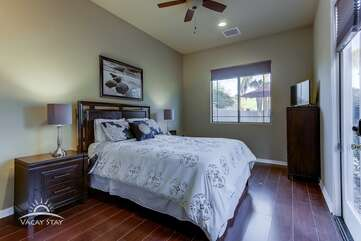 Bedroom 2 (casita)  has a Queen, TV and it's own separate entrance.