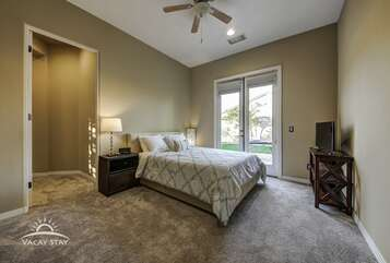 Bedroom 4 Queen, TV, French door access to patio and this room leads directly to the master bedroom (for little ones to be close to mom & dad) or it can be blocked off for privacy