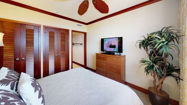 Flat Screen TV and Ceiling Fan in Second Bedroom