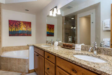 Master bathroom with dual sinks...