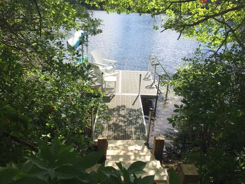 New Stairs added to get onto dock! and New Kayak Rack added -so more room on deck to enjoy!!  162 Owl Pond Brewster Cape Cod - New England Vacation Rentals