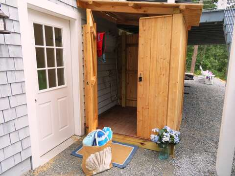 Enclosed outdoor shower with hot and cold water - 162 Owl Pond Brewster Cape Cod - New England Vacation Rentals