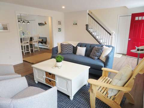 Cozy living room as you enter the home - 162 Owl Pond Brewster Cape Cod - New England Vacation Rentals