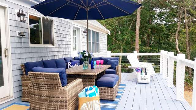 Large deck with outdoor dining and gas grill - 162 Owl Pond Brewster Cape Cod - New England Vacation Rentals