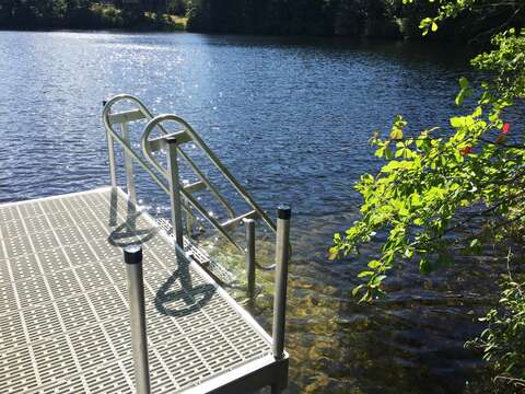 Stairs into water - take a nice dip and cool off!!  162 Owl Pond Brewster Cape Cod - New England Vacation Rentals