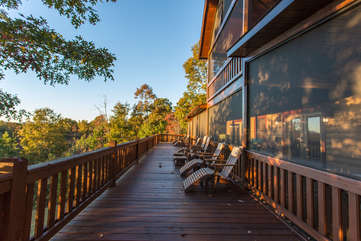 The open deck with Adirondack Chairs invites you to relax and escape the day-to-day.  Enjoy sunshine in the day or the night under the stars.