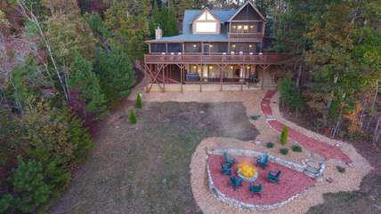 Aerial view of the cabin.