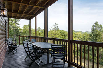 Enjoy dining on the deck of the cabin or a game of cards with your friends or relaxing by the Hot Tub located on the Lower Deck