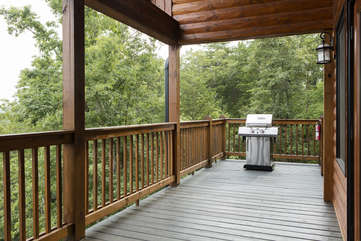 Enjoy Grilling your favorite steak on the Gas Grill provided on the upper deck