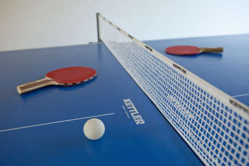 It's easy to win on this top-of-the-line table on wheels — ping pong anyone?