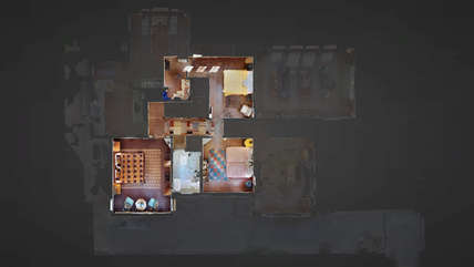 3-D virtual reality image of upstairs floor plan