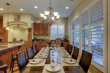 Large dining room table seats 10 comfortably.  Desk area in kitchen corner provides a great workspace
