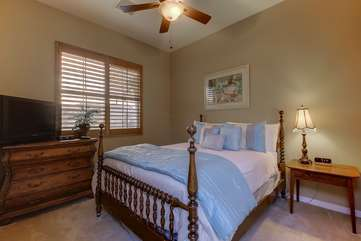 Casita bedroom has a Queen and large TV. Separate entrance for privacy. Bedroom 2