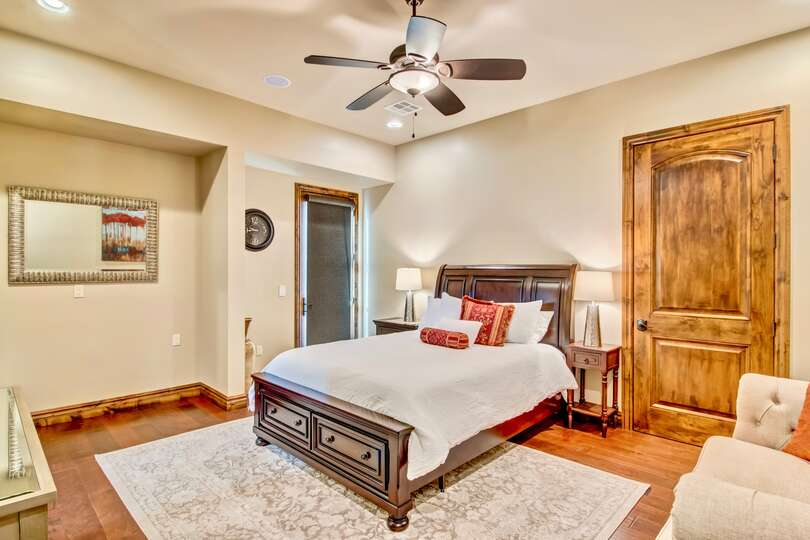 With a sitting area, this spacious bedroom is perfect for two!