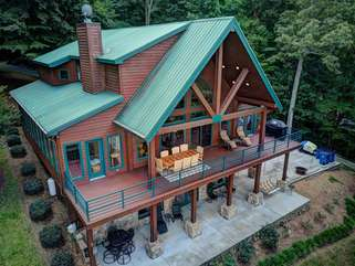 Aerial view of your luxury Lake Norman vacation home.