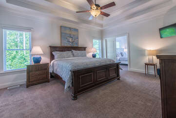 Master bedroom with luxurious king bed