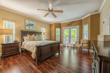 Main level master bedroom with private access to sitting deck.