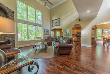 Main level open floor plan, living room, kitchen and dining.  Everyone will feel apart of the party!