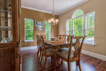 Dining room for elegant dinners or just gathering round with the family. Seating for 8.