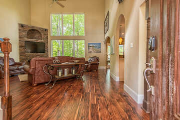 Open floor plan, 2 story windows with great views.