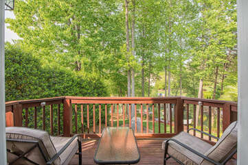 Viewing deck off the master bedroom, perfect for enjoying morning coffee and taking in the quiet mornings on the lake.