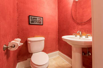 Lower level half bath - not too far from the lake!