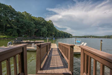 Personal boat dock with separate swimming dock with swim ladder.