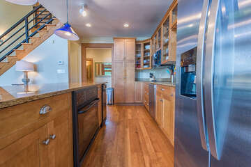 Galley style kitchen, with lots of island counter space.