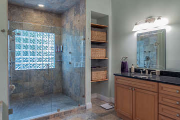 Tiled shower with multiple shower heads