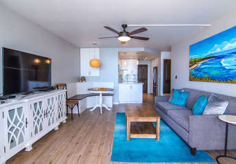 Open living area from the lanai