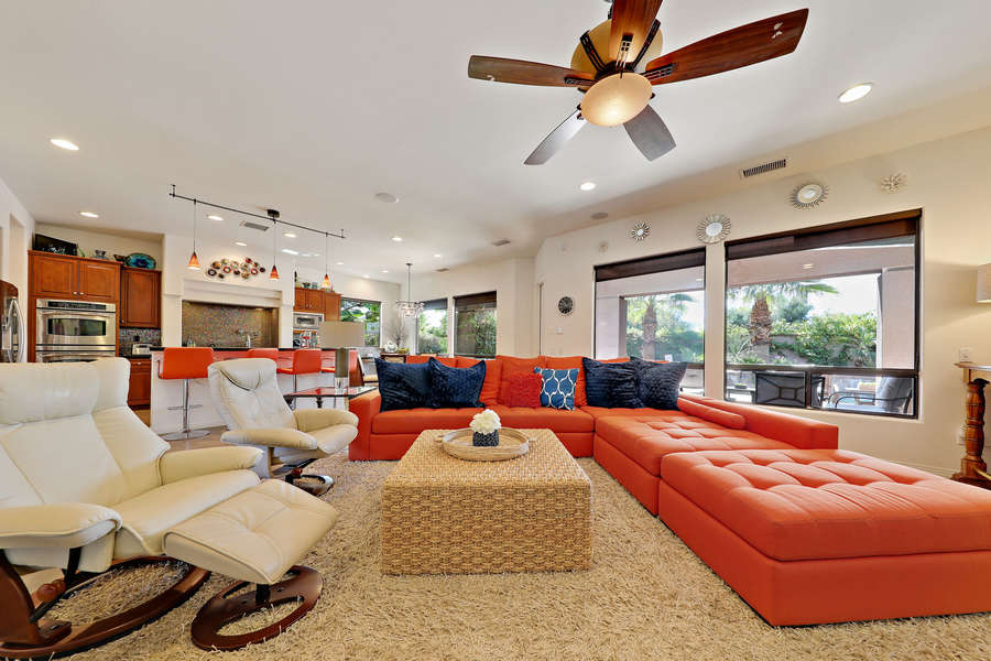 Open concept living area with large sectional sofa - perfect for big groups!