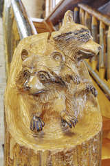 Hand carved animals throughout
