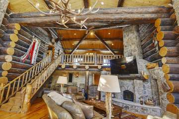 2 story great room with  game room loft