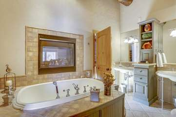 Master bathroom with gas fireplace