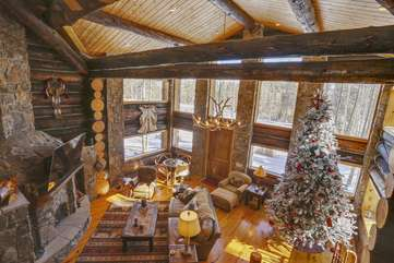 2 story great room with wood burning fireplace and incredible views