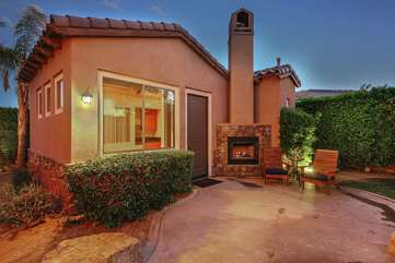The casita guest house has an outside gas fireplace and sitting area