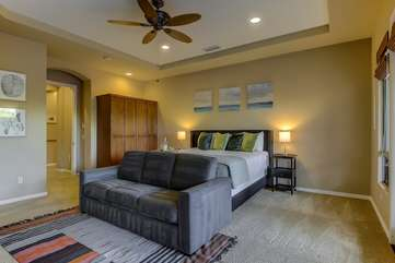 The master bedroom is big enough for a fold out couch to sleep 2 more