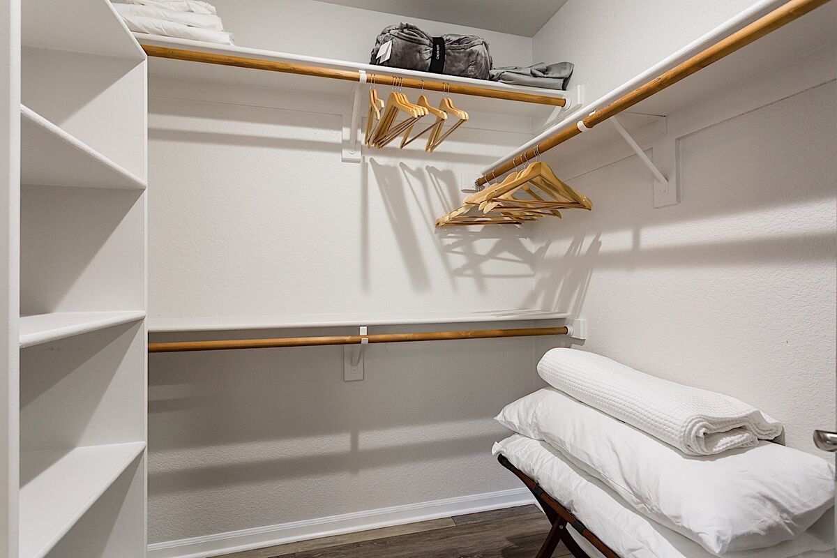 Large Walk in closet with some extra comfortable blankets and pillows available!