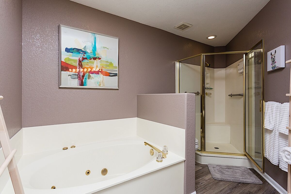 Feel like you are at the spa in this master bathroom.