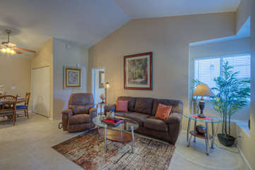 Great room in cozy 2 BR 2 BA Mesa townhome has vaulted ceilings, new paint and new tile floors