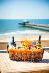 Want to enjoy your first meal overlooking the beach? We've got you covered!  Purchase one of Cheese & WIne Hampers full of all our local favorites at check-out and one of our concierge members will have it ready for your arrival.