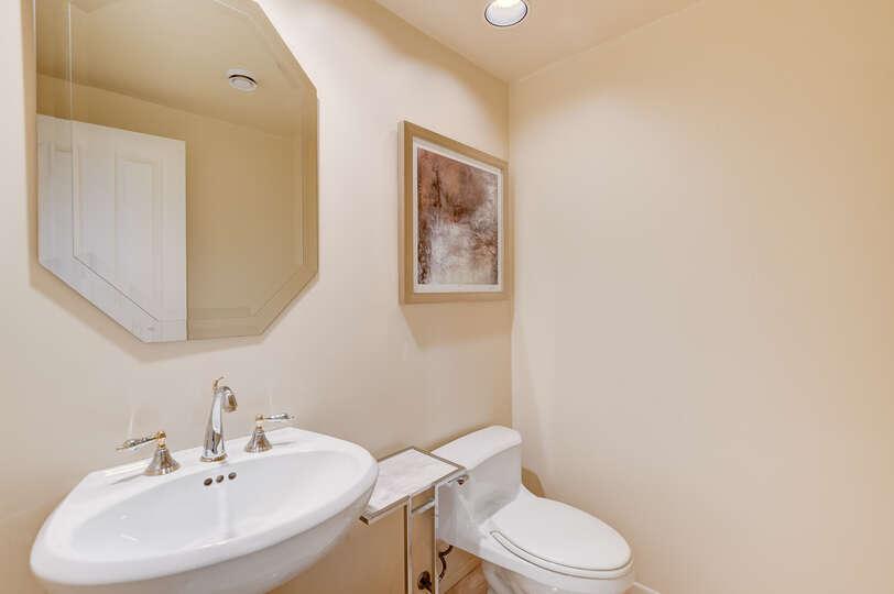 A conveniently located half bath